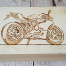 Wood burn box, stash box, pyrography, super bike