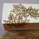 Wood burnt box, Autumn leaf, Tribal, Stash box, Tobacco box,  rolling box