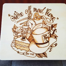 Wood burn box, stash box, Mad hatters tea party, Alice in wonderland design