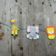 Safari animal felt garland