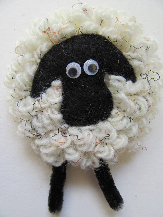 Sheep brooch, gift for her, sheep lovers gift, sheep badge