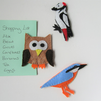 British bird felt fridge magnets, nature lovers gift, bird watchers gift