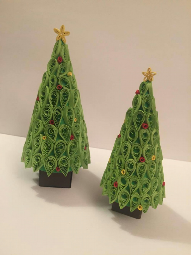Pair Of Quilled Christmas Trees Folksy