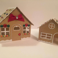 Pair Of Card Gingerbread Houses