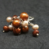 Mixed Pearl Cluster Ring