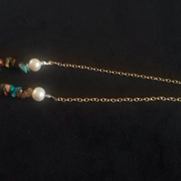 Multi Gem Nugget  and Pearl Necklace