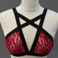 Red Lace Cage Bralette