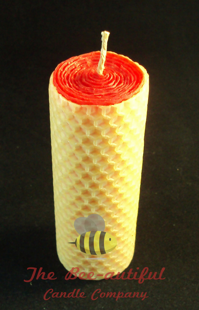 Swanky 2 Colour Hand Rolled Beeswax Pillar Candle, Red Inside Natural Outside