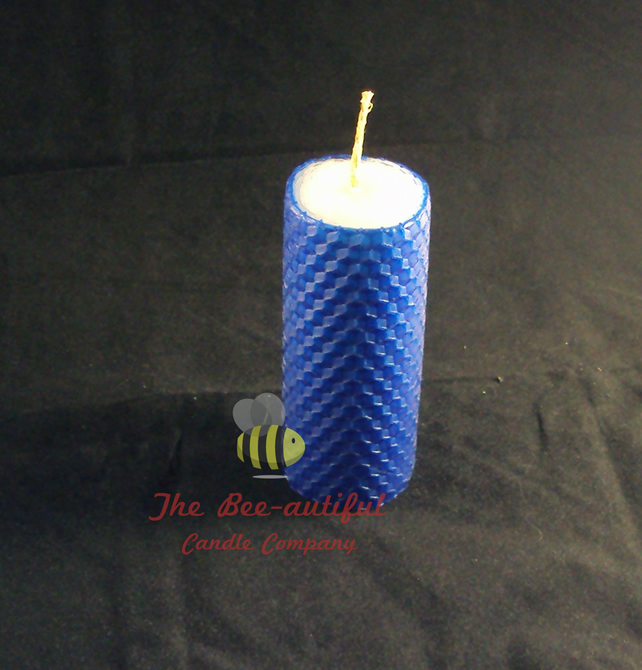 Swanky 2 Colour Hand Rolled Beeswax Pillar Candle, White Inside Blue Outside