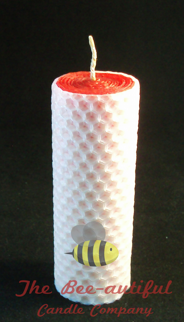 Swanky 2 Colour Hand Rolled Beeswax Pillar Candle, Red Inside White Outside