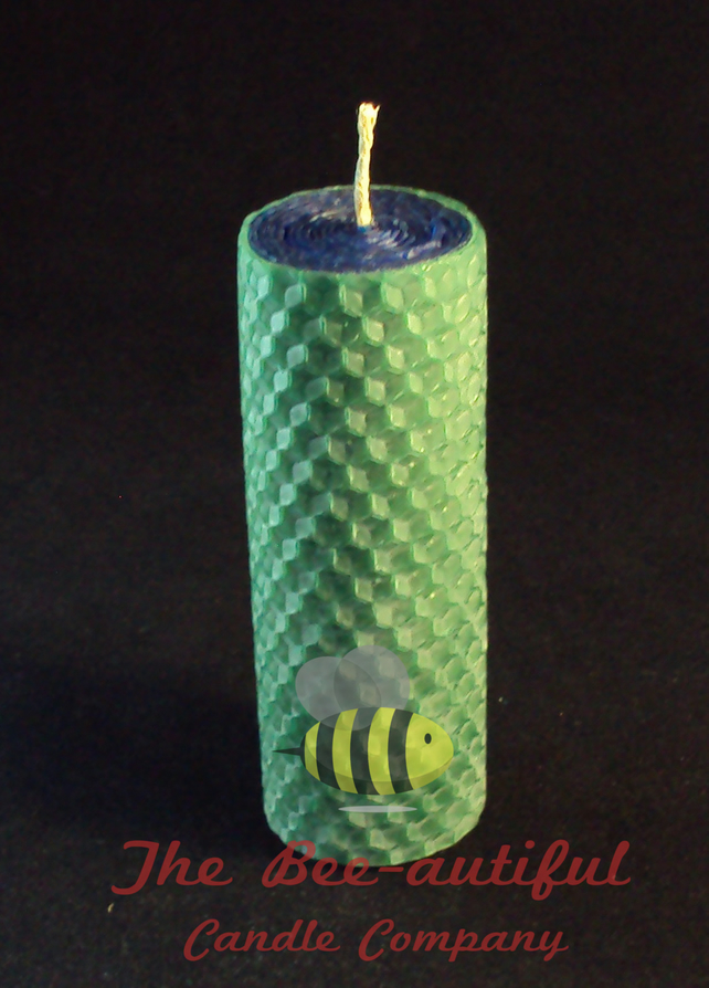 Swanky 2 Colour Hand Rolled Beeswax Pillar Candle, Blue Inside Green Outside