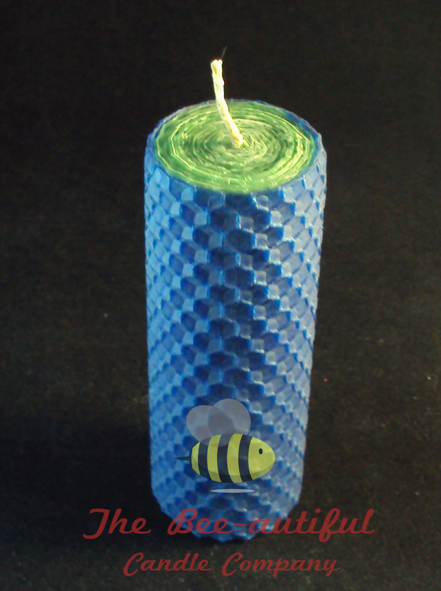 Swanky 2 Colour Hand Rolled Beeswax Pillar Candle, Green Inside Blue Outside