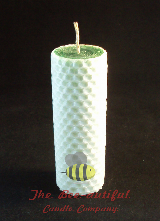 Swanky 2 Colour Hand Rolled Beeswax Pillar Candle, Green Inside White Outside