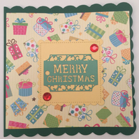 Handmade Colourful Christmas Card with Matching Gift Tag