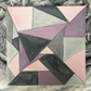 Modern Geometric Abstract Painting in Grey and Pink