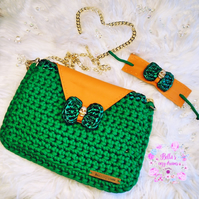 Crochet Clutch bag and bracelet set