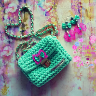 Knitted Clutch Bag and Earrings