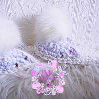 Crochet bride slippers