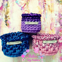 Crochet basket set of 3