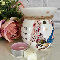 Hand Decorated ceramic wax Burner in Alice in Wonderland vintage prints