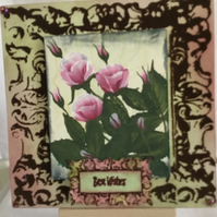 Hand Painted Greetings Card. General. Best Wishes. Floral. Roses.