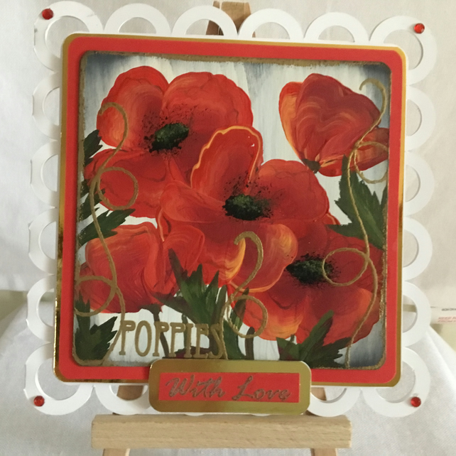 Poppies Hand  Painted and Handmade Greetings Card. General Greetings.