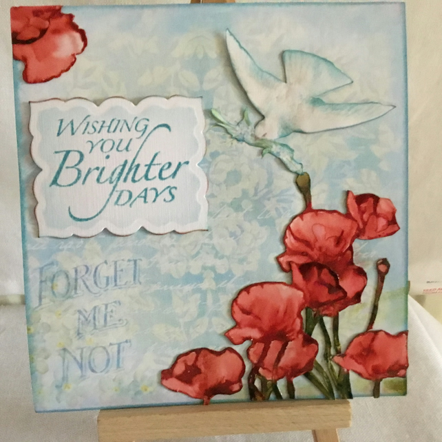 Hand Painted Poppies Sympathy or Memorial Card