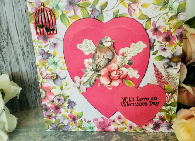 Valentines Card with Birds, Love Hearts and Flowers. Valentines Day. Love
