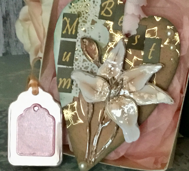 Mother's Day Heart. Handmade Collaged Heart with Lillies. Gift Boxed with Tag