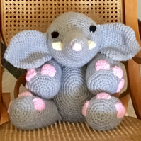 Handmade Crochet Elephant. Cushion. Toy.