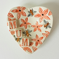 Heart Shaped Soap Dish with Honey Bees and Flowers. Gift for Mum