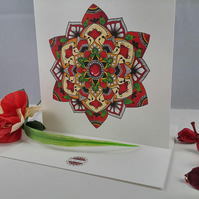 Red mandala mothers day birthday anniversary valentine's day card