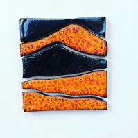 handmade ceramic framed square wall art