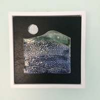 Silver Moon - ceramic mosaic handmade tile framed wall art