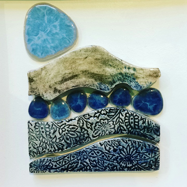 pebble river - handmade ceramic tile wall artwork
