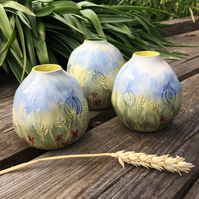 Small Ceramic hand painted Bulb shaped Vase - Flower Meadow design