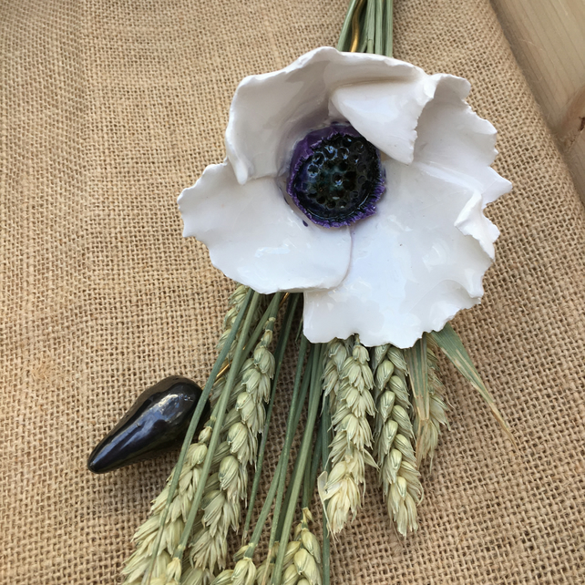 Ceramic flowers - single stem White poppy, for arrangement and bouquet keepsake