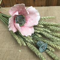 Ceramic flowers - single stem Pink poppy, for arrangement and bouquet keepsake