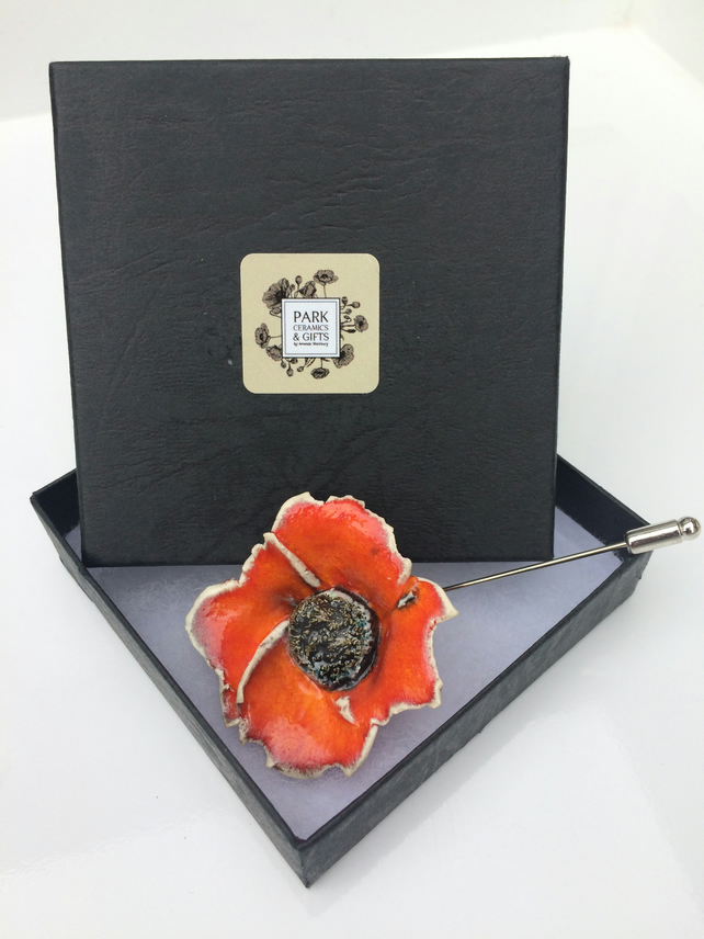 Orange Poppy flower pin