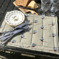 Set of 6 handmade, pheasant, quilted place mats