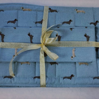 Handmade, quilted place mats & napkins with dachshund design