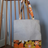 Colourful tote bag made with original 1970s fabric
