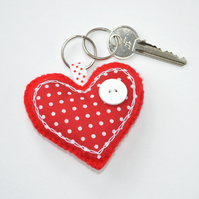 Red heart felt sewing kit. True love heart keyring craft kit