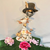 Paper Mache Lamp  Alice in Wonderland Mad Hatters Tea Party Lamp Cup Teapot Lamp