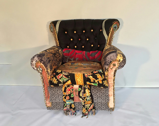 Reserved Tim Mad Hatter Chair Upcycled Wing Armchair Alice In Wonderland