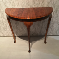SOLD - Example Only Half Moon Demi Lune HIgh Gloss Burnt Grain Table