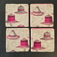 Cakes Coaster Pink Cakes Set of 4 Decoupage Natural Stone  Food Coasters Fancy