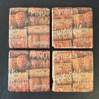 Wine Names Coasters Cork Natural Stone Set of 4 Decoupaged Wine Coaster Rustic