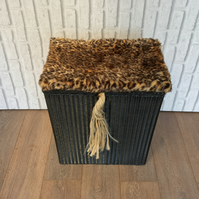 Upcycled Lloyd Loom Laundry Basket with Faux Fur Lid Wicker Basket Hamper
