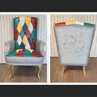 Upcycled Handpainted Armchair with Harlequin Image on Back